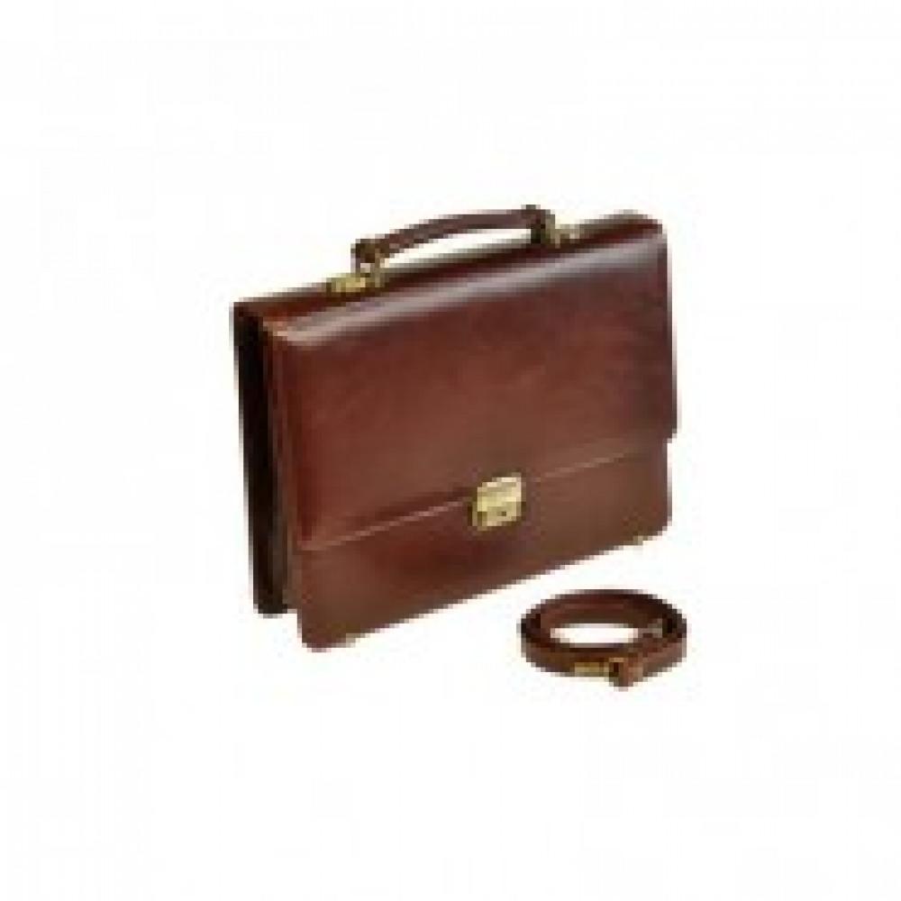 Портфель Grand из натуральной кожи темный коньяк 01-057-0823