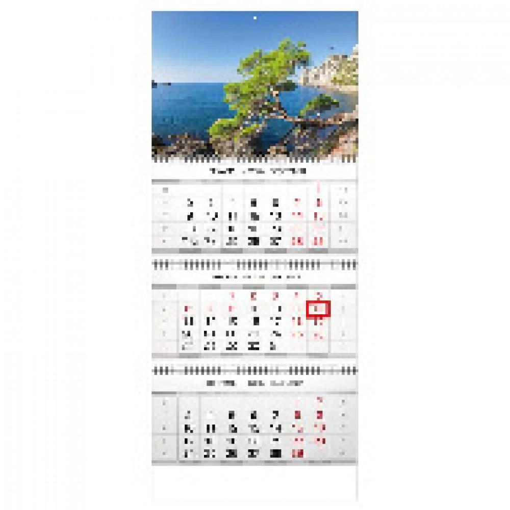 Календарь настен, 2020, 335х840, Горы и море, 3 спир,90г/м2,KB