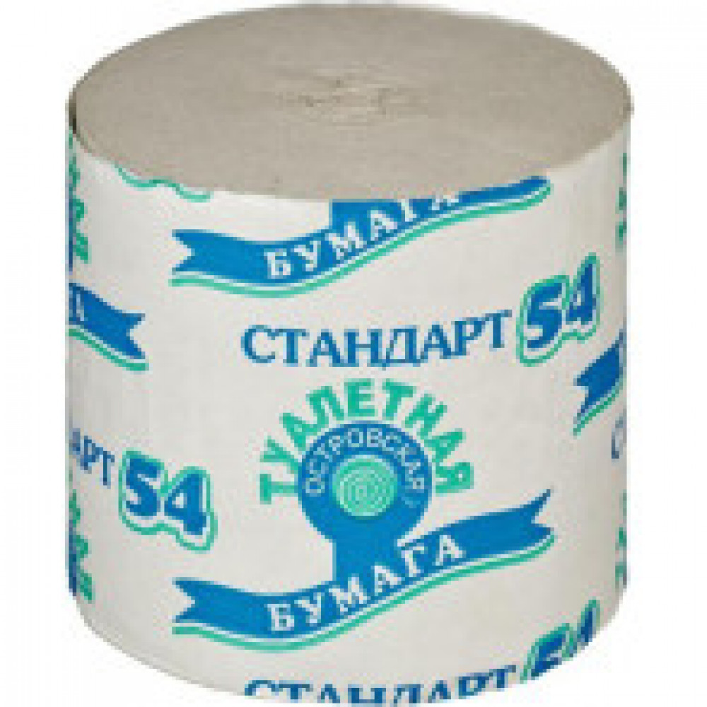 Бумага туалетная 1-сл.ОСТРОВСКАЯ б/втулки сер 50м,24рул/уп.