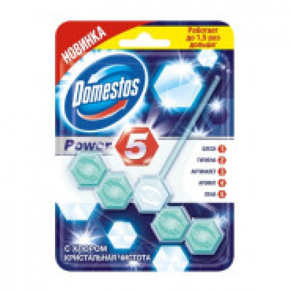 Блок для очищения унитаза гигиенический с хлором Domestos Power 5 Кристальная чистота