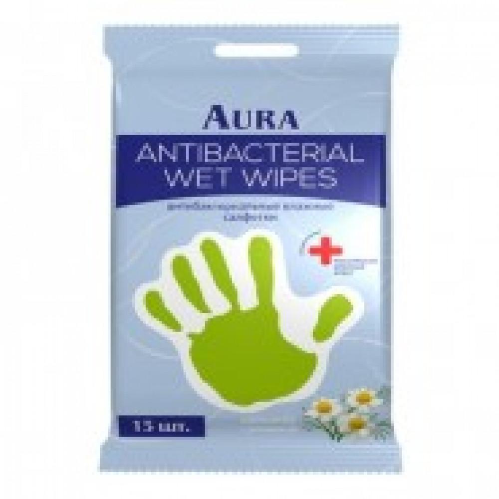 Влажные салфетки антибактериальные Aura 15 штук в упаковке