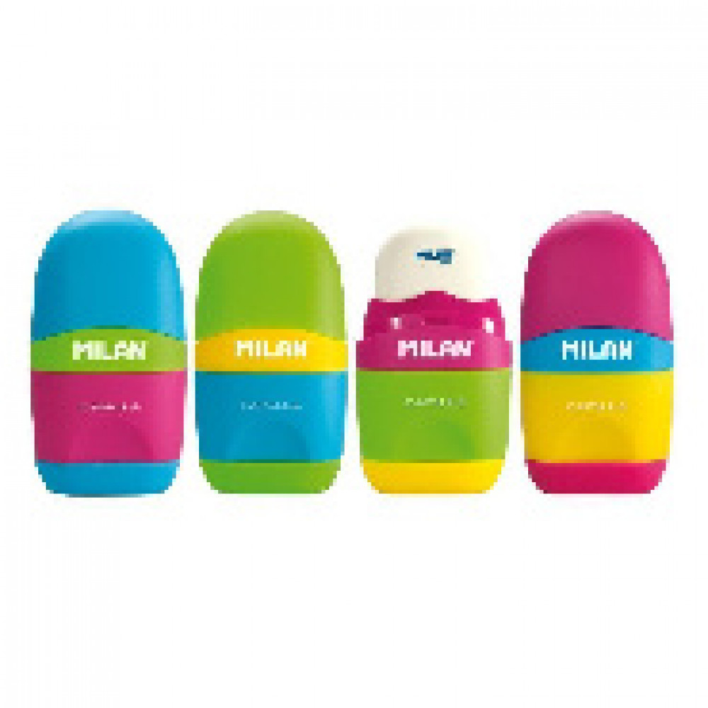 Ластик-точилка Milan CAPSULE MIX, пластик, цвет в ассорт. 4701236