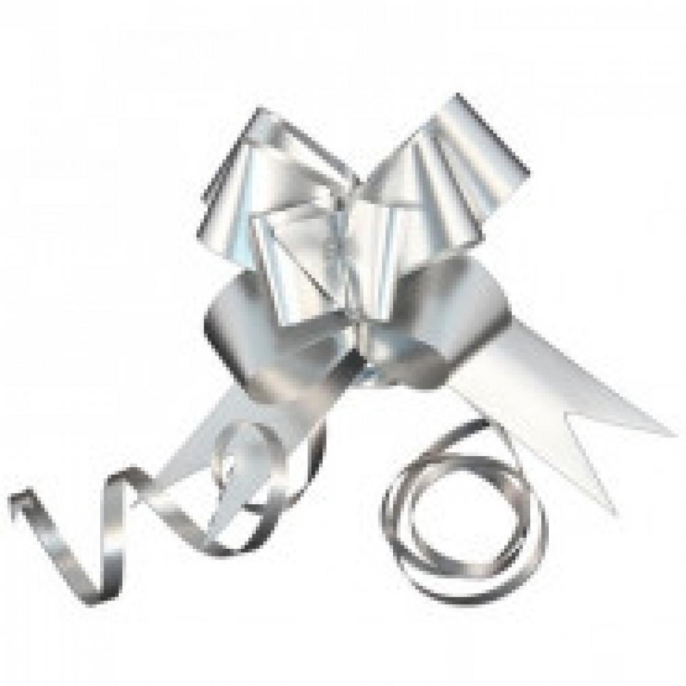 Бант бабочка, набор 10 шт, 30х500 мм, метал.серебряный 44905