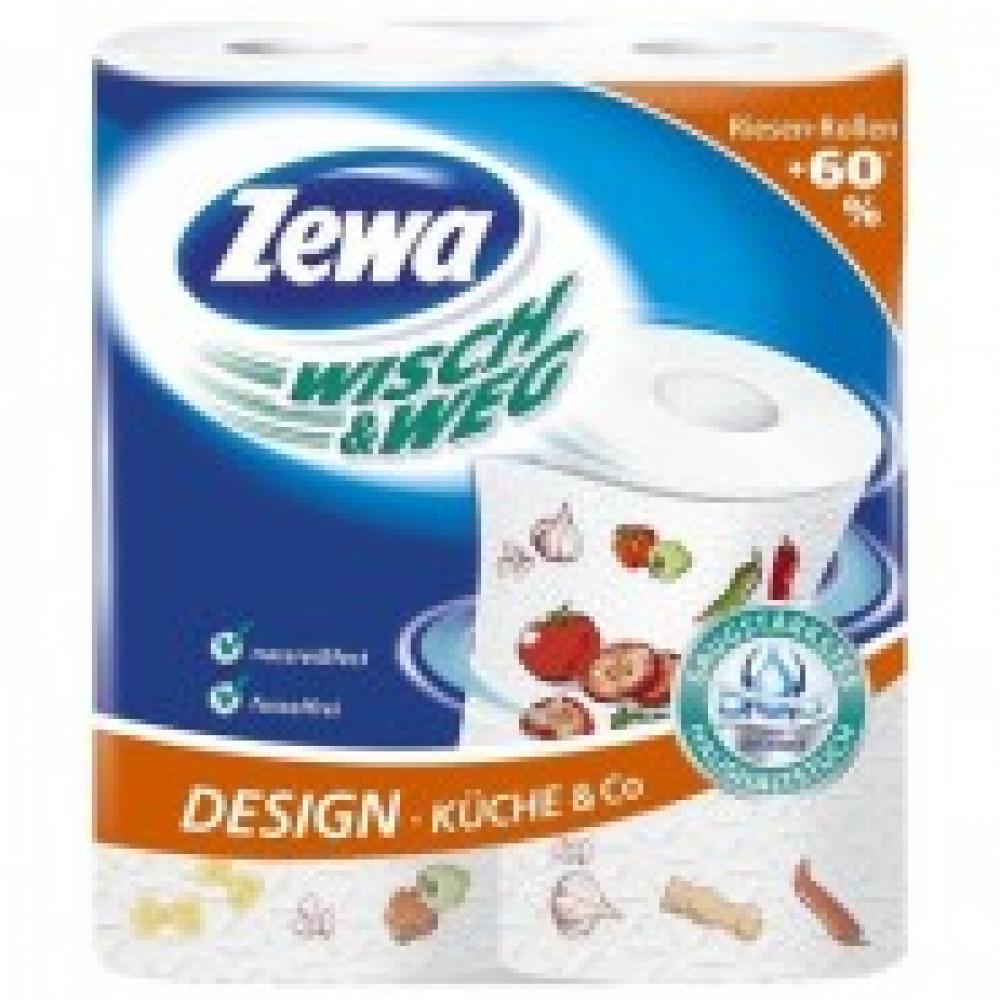 Полотенца бумажные ZEWA W&W 2-сл., белые с рис. 39633/42830 2 рул./уп.