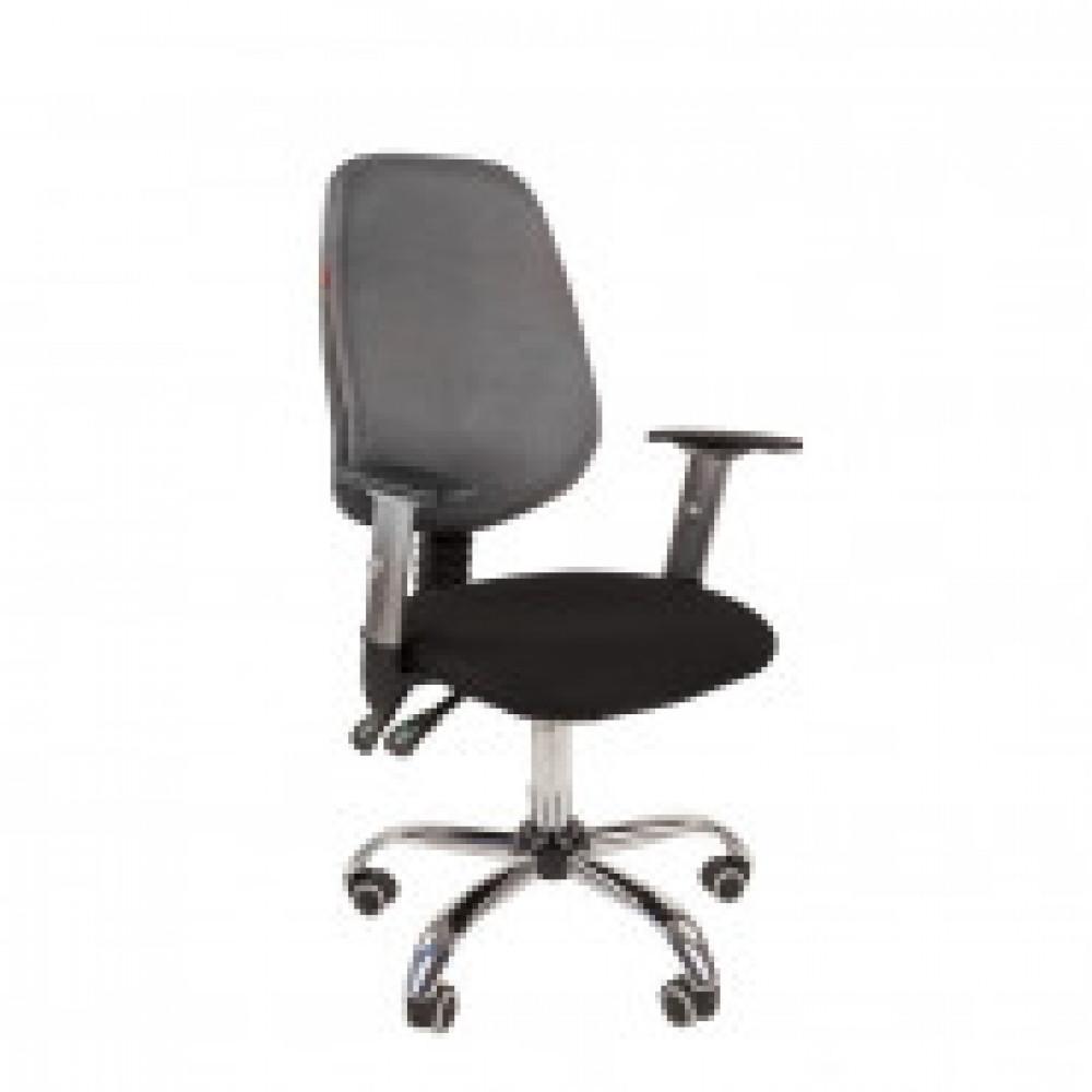 Кресло VT_EChair-214 AL спинка ткань серая, сиденье черное, хром