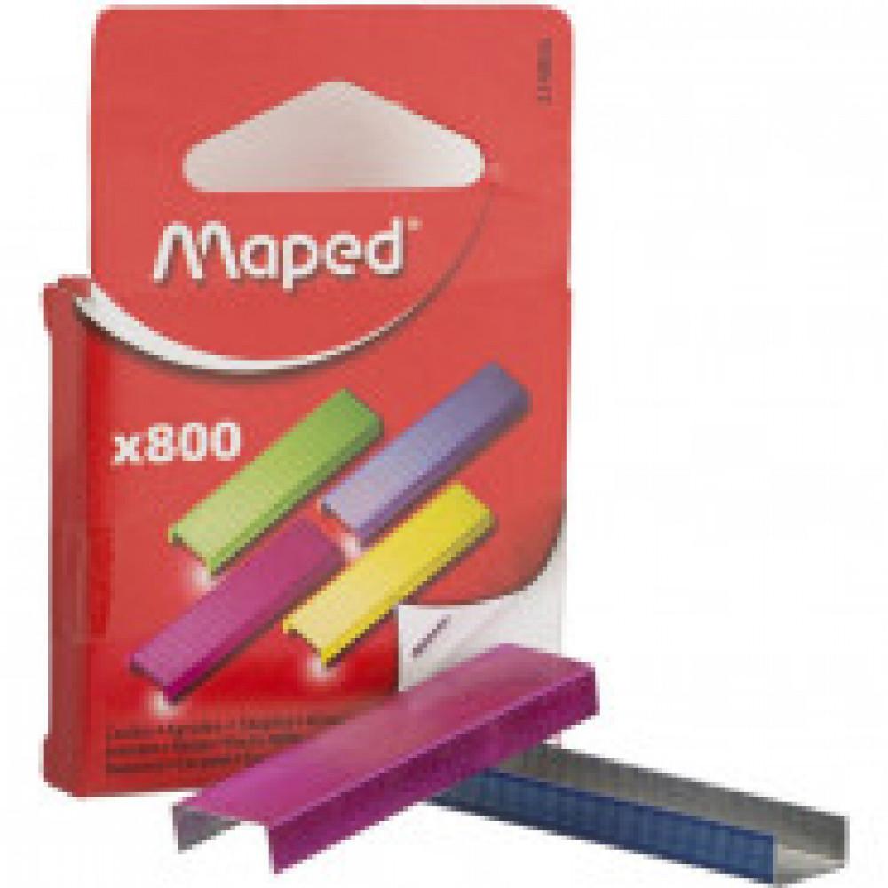 Скобы к степлеру №26/6 MAPED, цветные, 800 шт (2-40 лист.)в уп.европодвеС