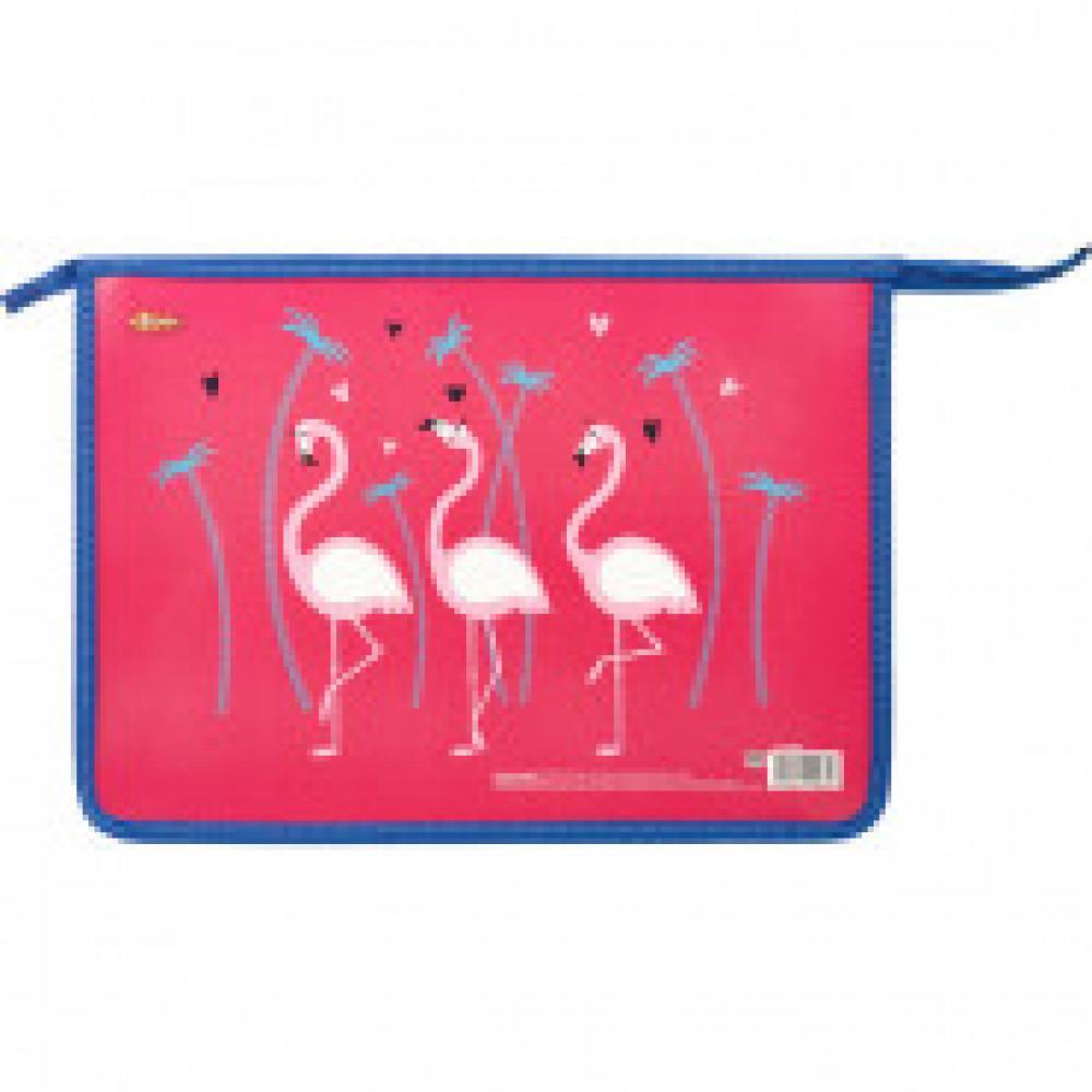 Папка для тетрадей №1 School Flamingo А4, пластик+ламин картон молния,30Ш4