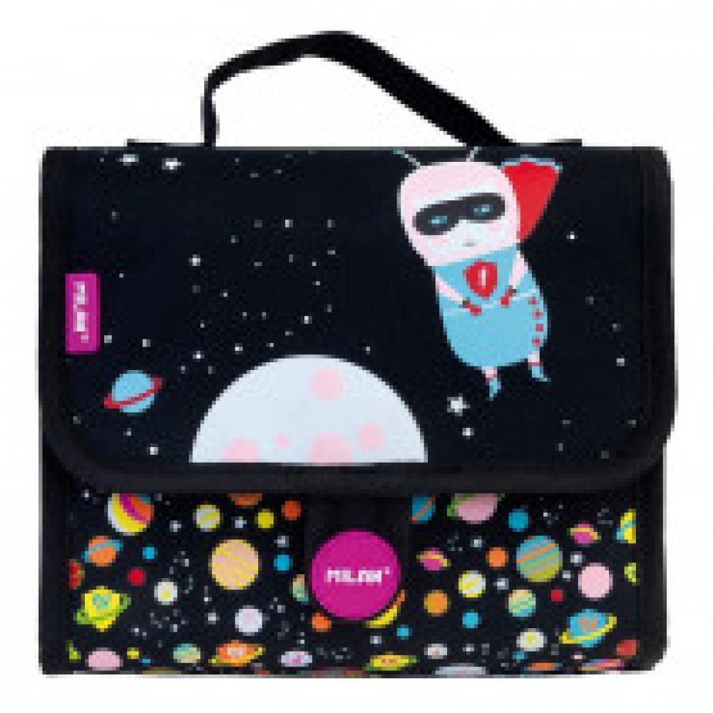 Портфель Super Heroes Space детский с 2 пен с наполн фиолетовый, 08831SSP