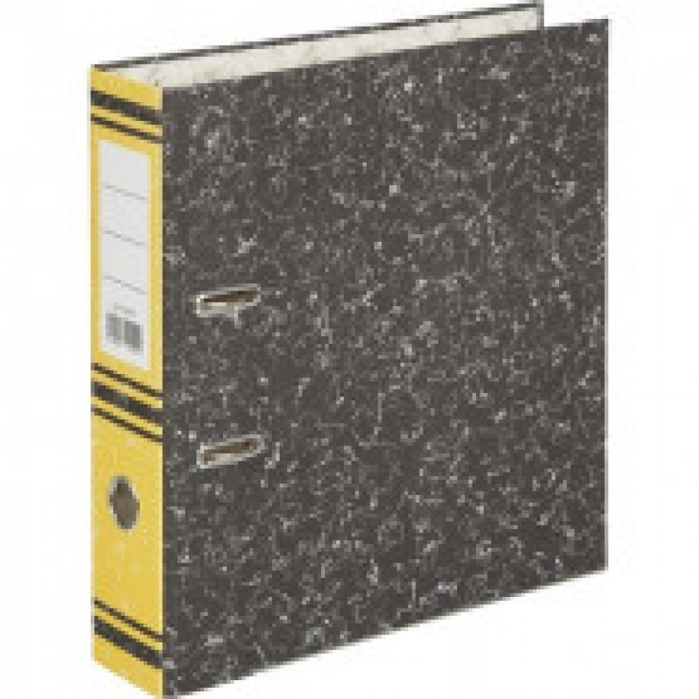 Папка-регистратор 75 мм (+/- 5 мм)мрамор,мет.уг., желтый корешок