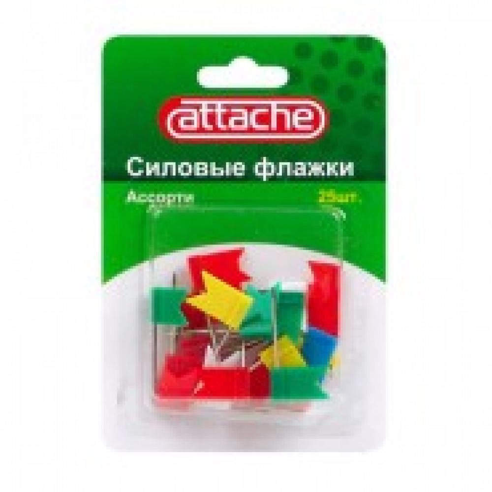 Кнопки для пробковых досок силовые флажки Attache, ассорти 25 шт./уп.