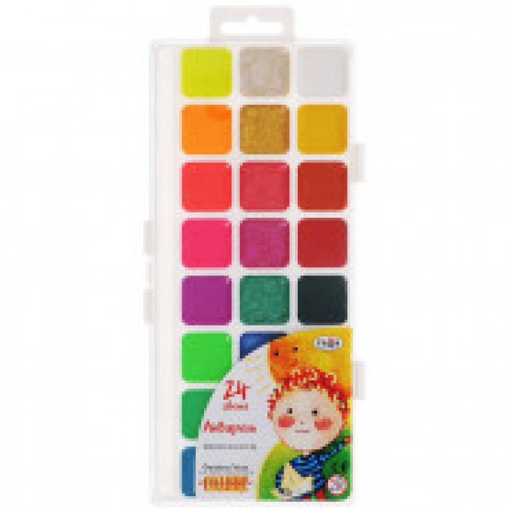 Акварельные краски Гамма Оранжевое солнце медовые с перламутровым/флуоресцентным эффектом 24 цвета