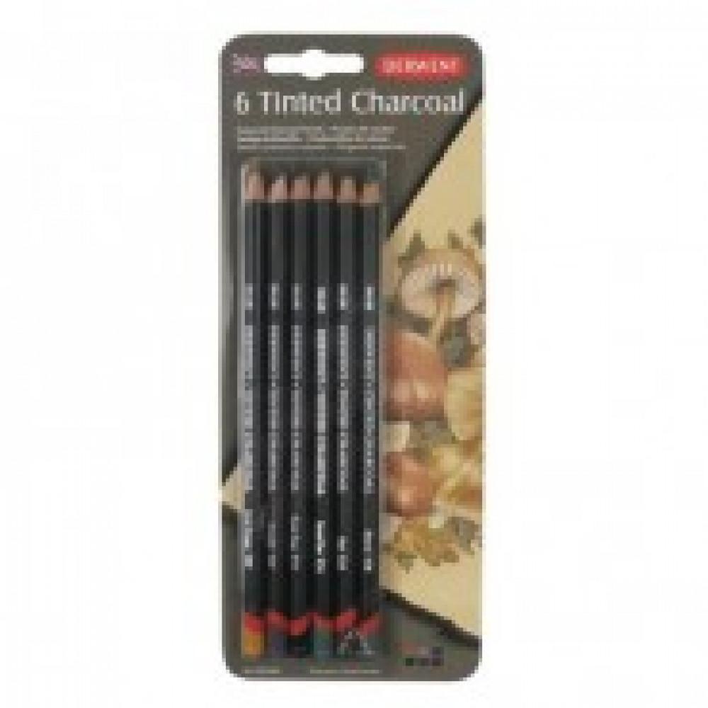 Набор карандашей угольных Derwent Tinted Charcoal тониров 6шт блист 2301689