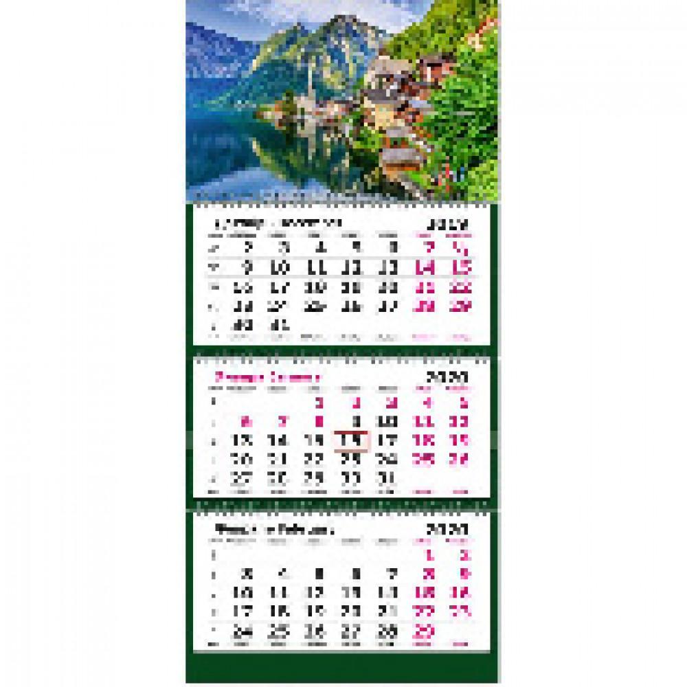 Календарь настен, 2020, 305х675, Европа, 3спир,80г/м2,KB