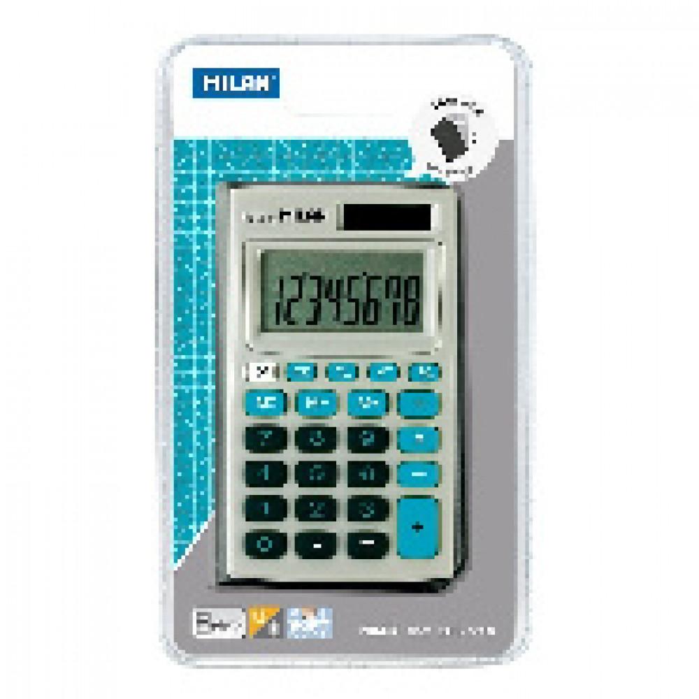 Калькулятор Milan 8-разр, в чехле, двойное питание, серо-голубой 150208BBL