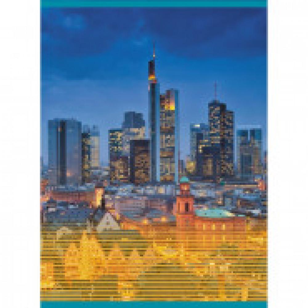 Бизнес-тетрадь A4,48л,кл,обложка хромэрзац,скрепка Ночные огни Т4484605