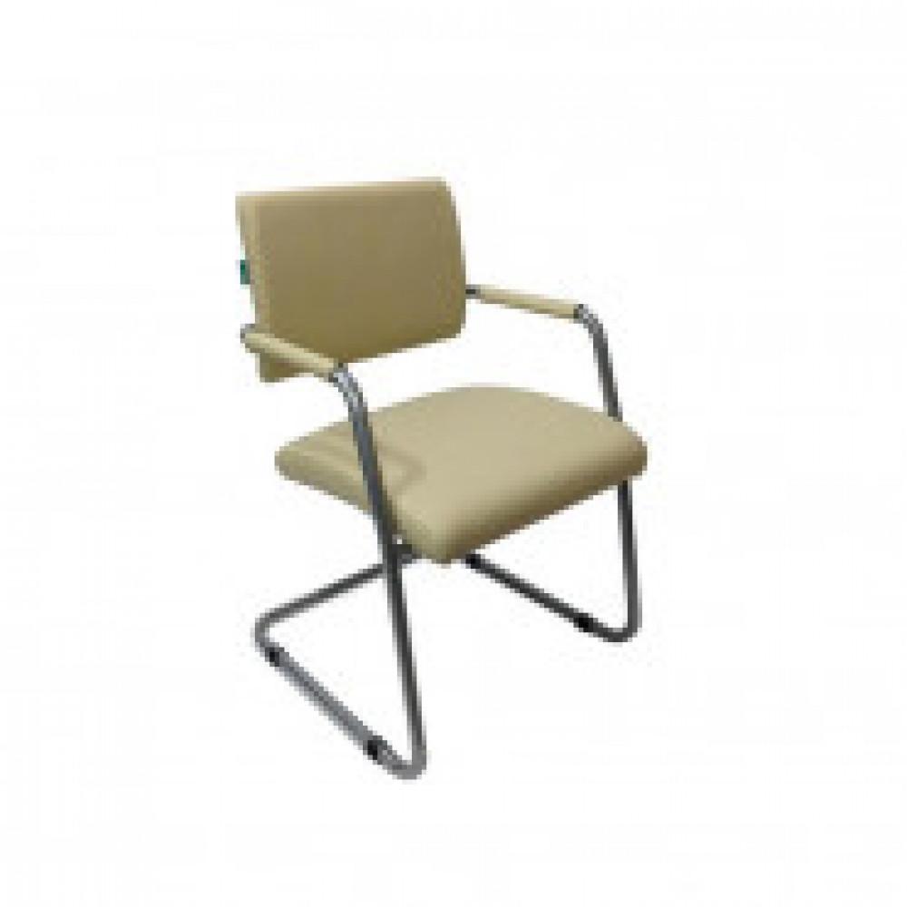 Кресло VB_БЮРОКРАТ CH-271-V каркас цвет хром, к/з белый (молочный) OR-10
