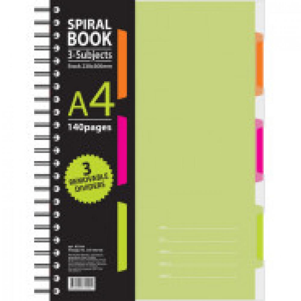 Бизнес-тетрадь 140л,кл,А4,SPIRAL BOOK Салатовый,евросп,обл.пл,раздел.84102