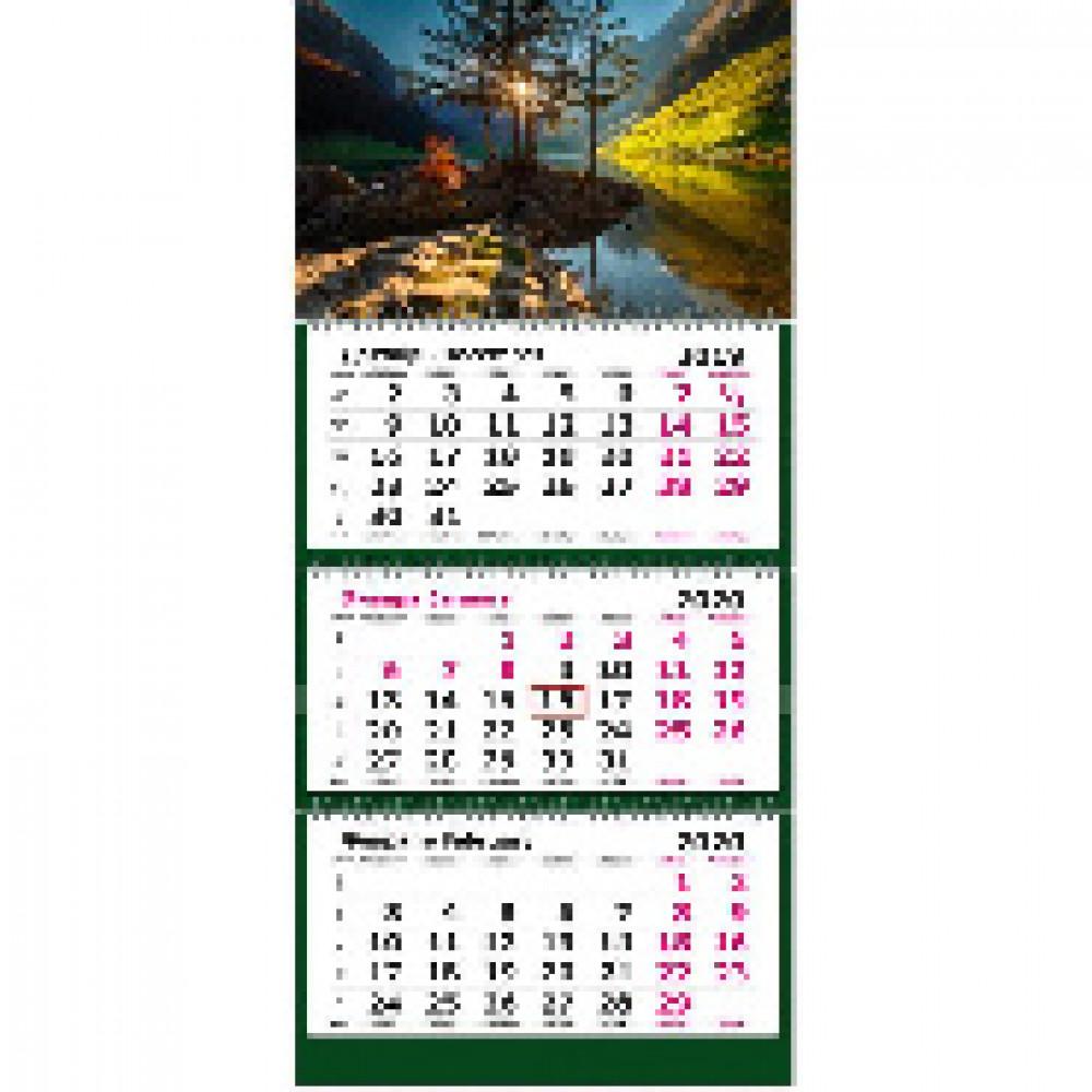 Календарь настен, 2020, 305х675, Рассвет на озере , 3спир,80г/м2,KB