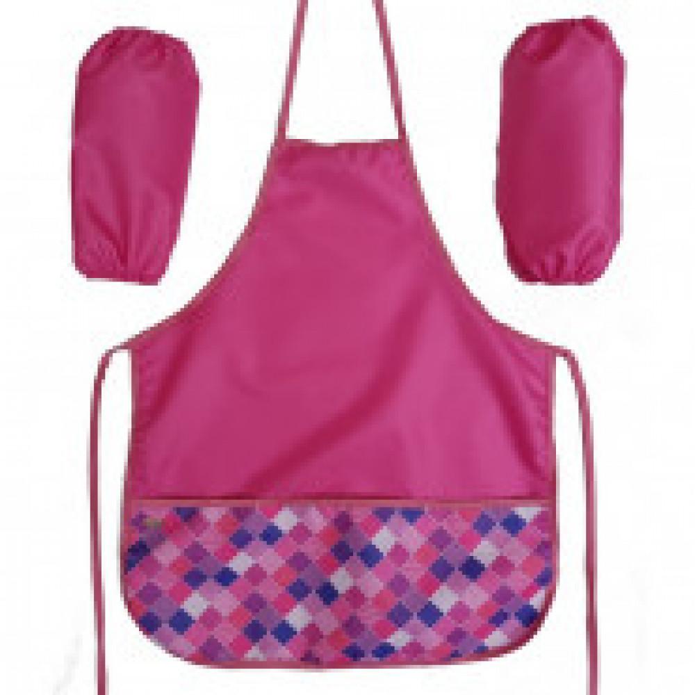 Фартук для труда №1 School Клетка розовая  44x54 см, 2 карманы, нарукавники