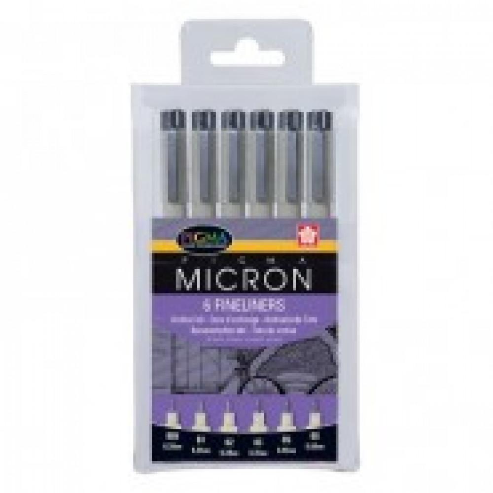Линеры Pigma Micron черные 6 штук (толщина линии 0.20, 0.25, 0.30, 0.35, 0.45, 0.50 мм)