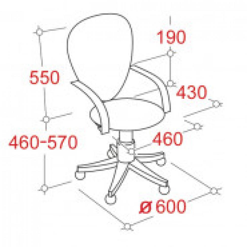 Кресло OL_EChair-206 PE ткань серая КВ40, хром