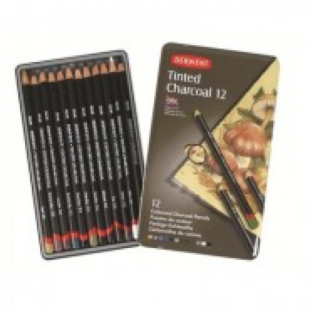 Набор карандашей угольн.Derwent Tinted Charcoal 12шт тонир.мет.кор D-230169