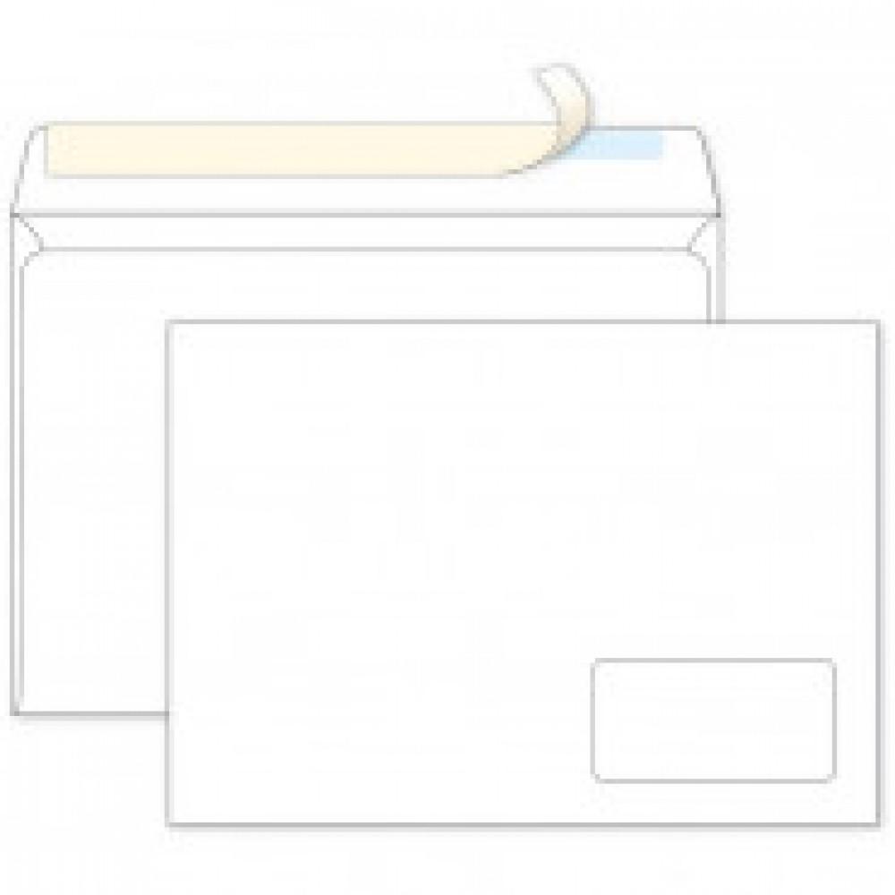 Конверт Ecopost C4 90 г/кв.м белый стрип с правым окном (250 штук в упаковке)