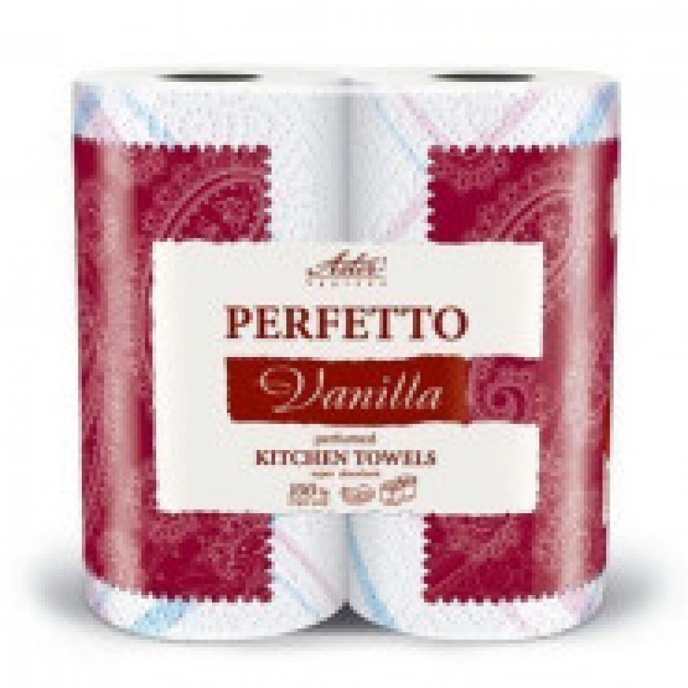 Полотенца бумажные ASTER Perfetto 3сл.бел.с рис.аром.2рул./уп.