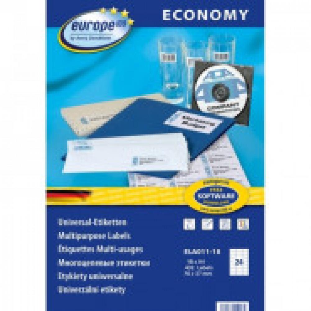 Этикетки самоклеящиеся Europe ELA011-18,70x37,1мм, 24шт на листеА4 18л/уп.