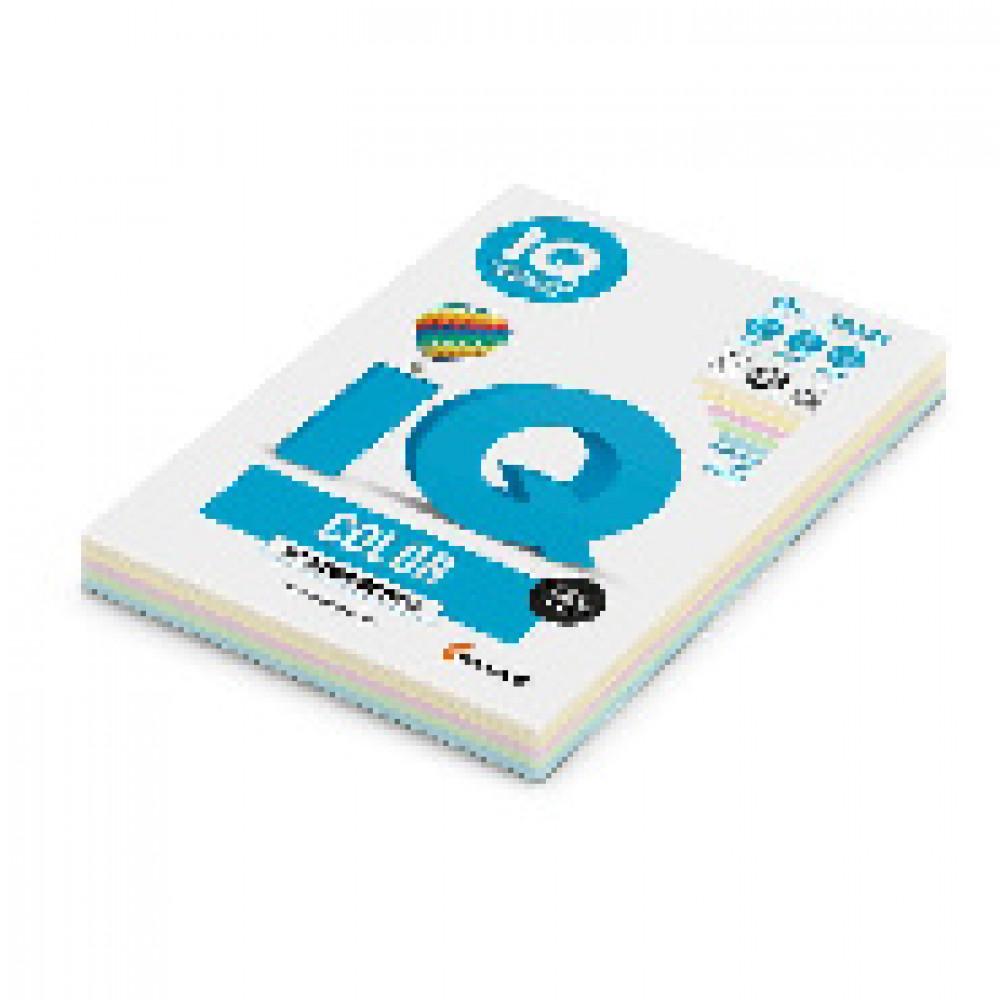 Бумага цветная для печати IQ Color 5 цветов пастель RB01 (А4, 80 г/кв.м, 250 листов)