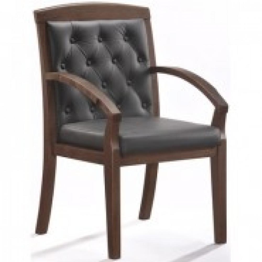 Кресло BN_Mb_Конференц Echair-422 KR рецикл.кожа черн., тем.орех
