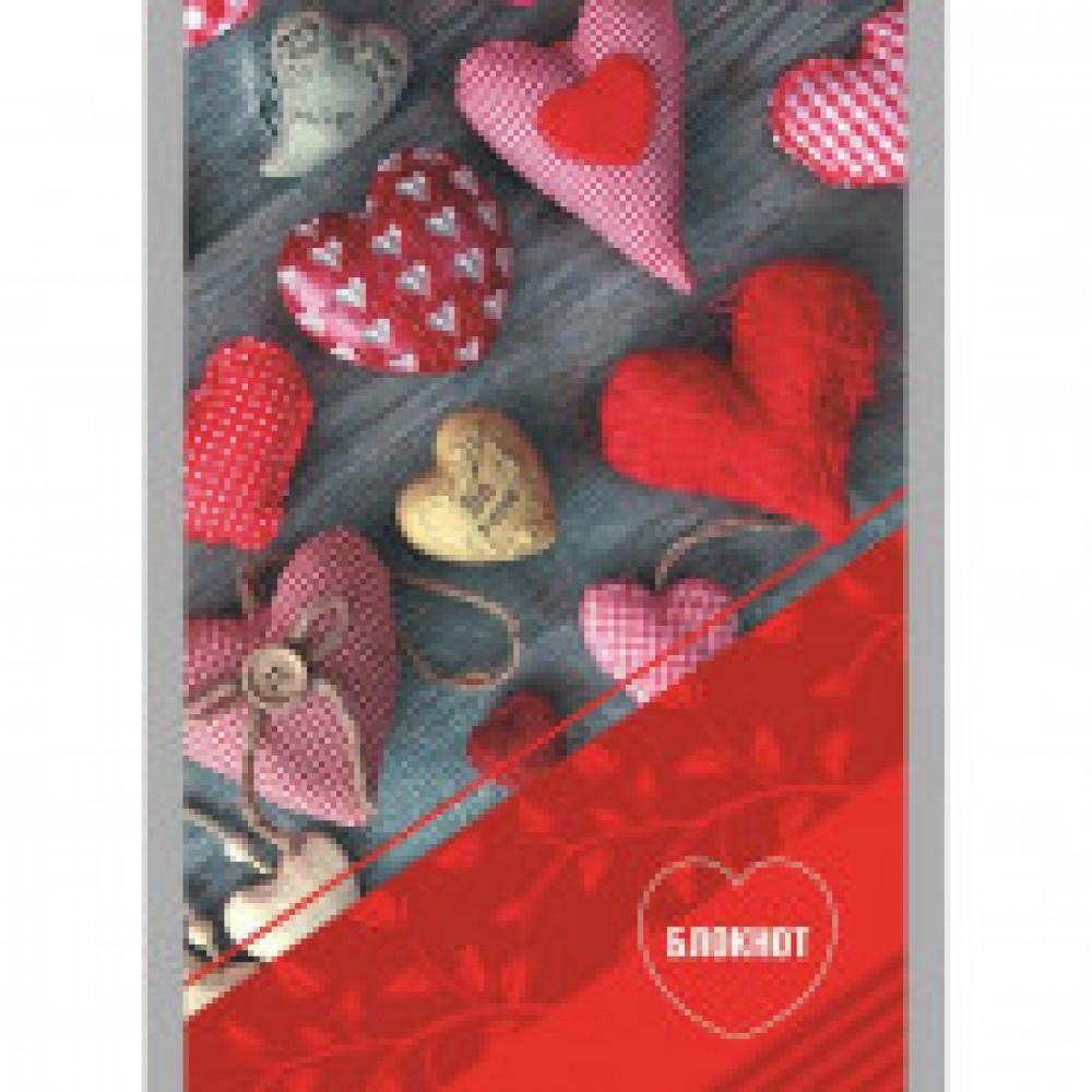Блокнот А6,32л,клетка,скрепка,обл.мелов.карт. Сердца С0100-249