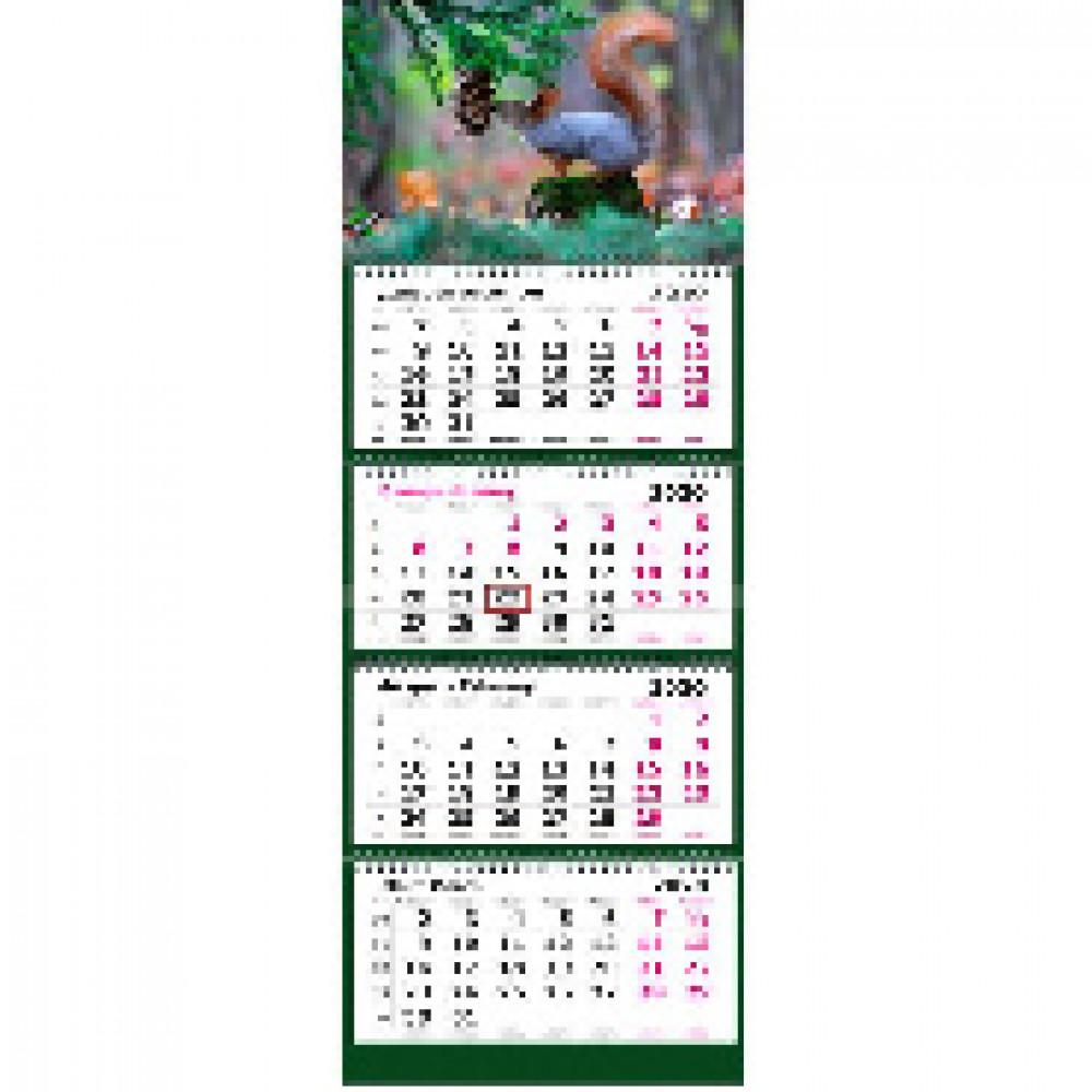 Календарь настен,2020 305х835, Заповедная Россия. Белочка,4 спир,80г/м2,KB