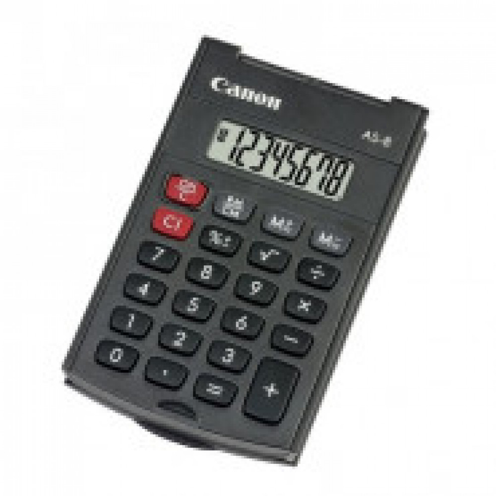 Калькулятор Canon карман. AS-8 EMEA HB, 8 разряд.с крышкой,цв.черный