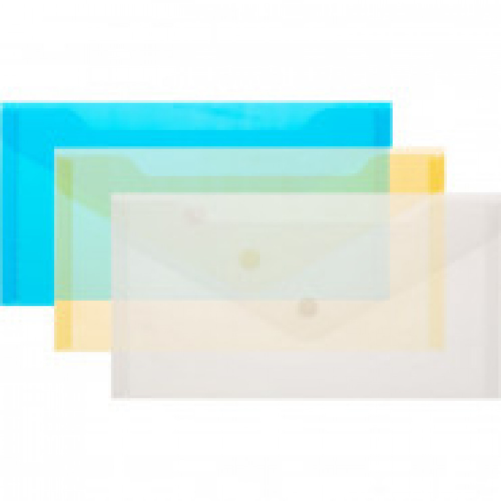 Папка конверт на кнопке С6 224x119мм, 180мкм, Attache ассорти, 10шт.уп.