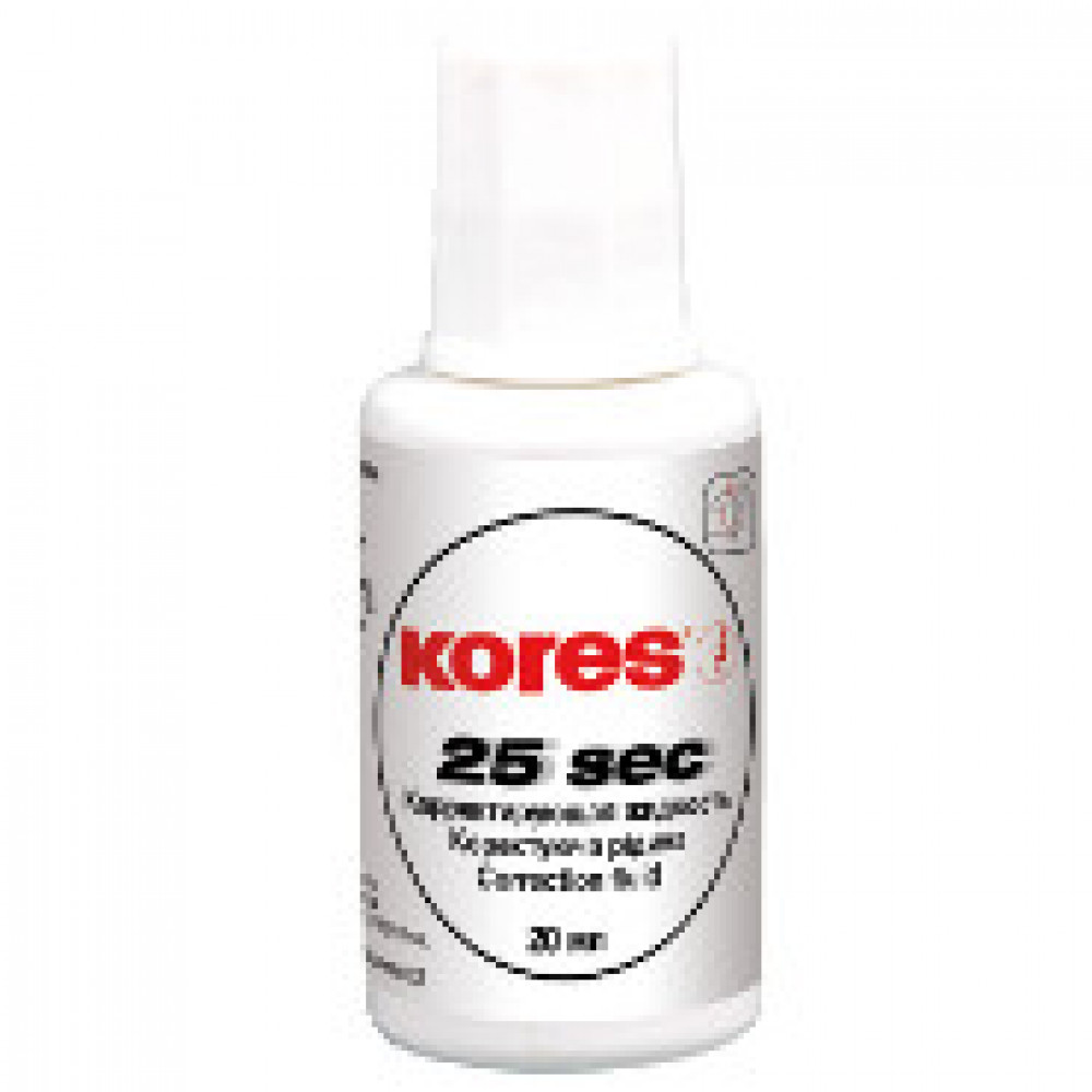 Корректирующая жидкость KORES WHITE 20мл на быстросохн осн, кисточка 66817