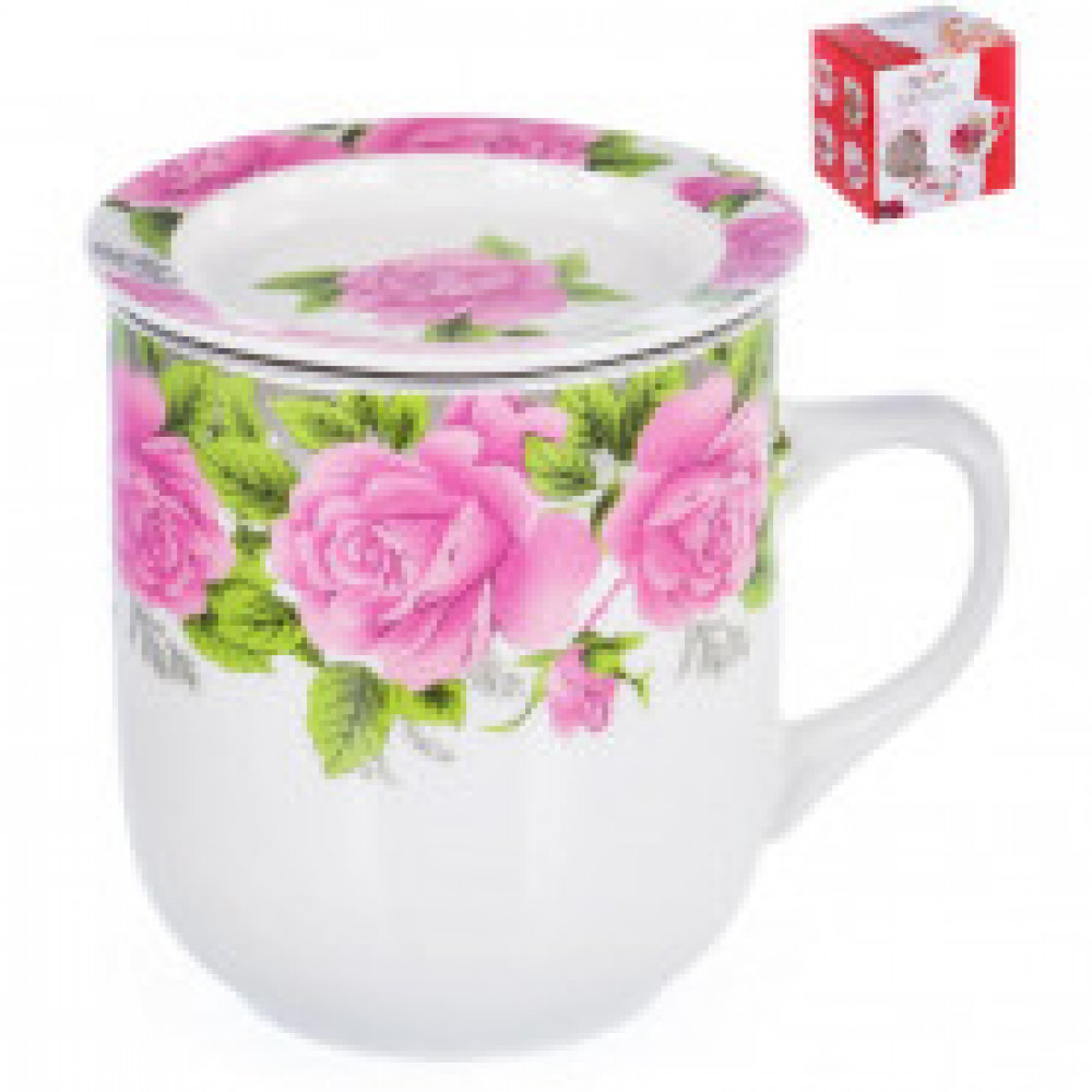 Кружка заварочная Розы 350мл с ситом арт.124-01121