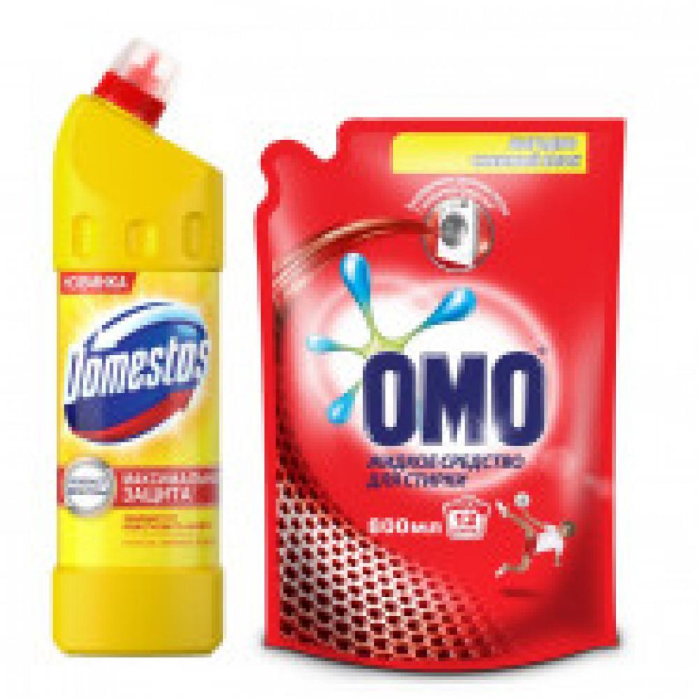 Промосмотка DOMESTOS Лимон 1л + жидкое средство для стирки ОМО 800мл
