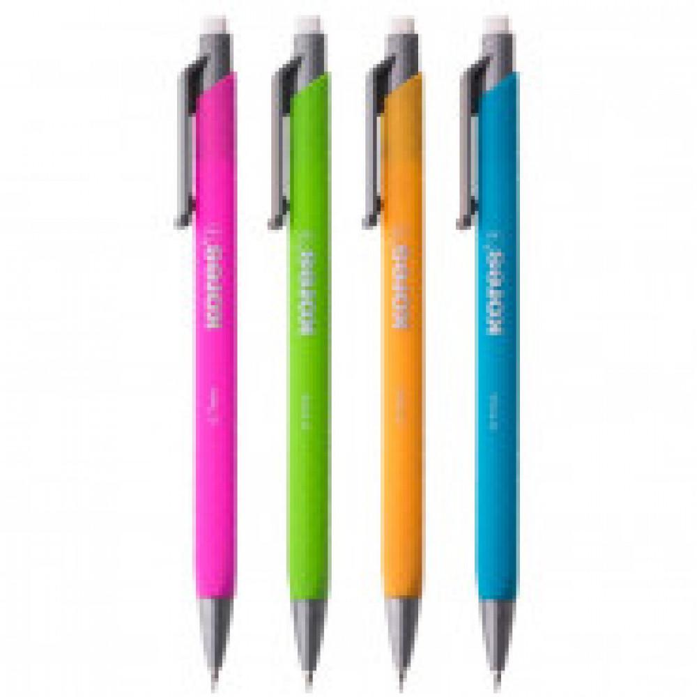 Карандаш механ KORES цвет в ассорт. 0,5мм с ласт + набор грифелей 15шт