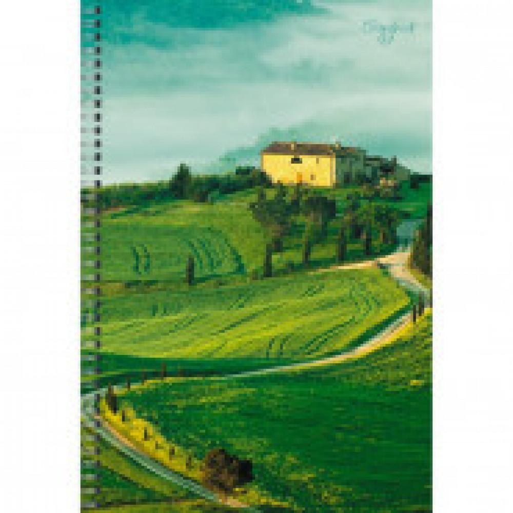 Бизнес-тетрадь A4,80л,кл,обл.мел.карт б/отд,спираль Зеленые луга ТС4804532