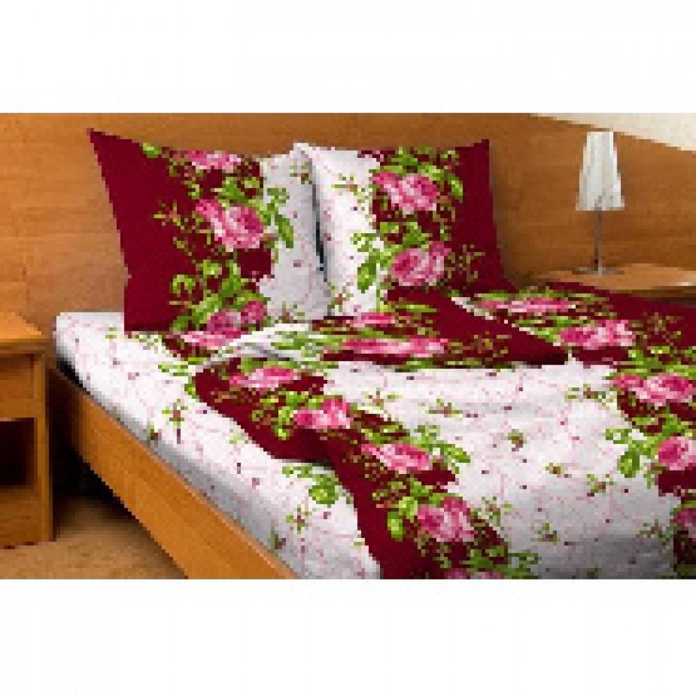 Комплект постельного белья 1,5 сп бязь 105 гр/м2 3150 бордо