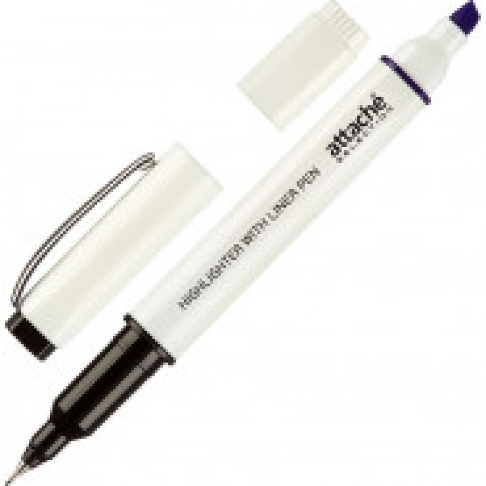 Маркер выделитель с линером Attache Selection 1-4 мм фиолетовый/чёрн 0,5мм