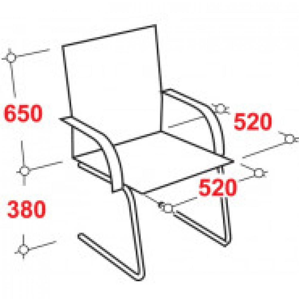 Кресло VT_Конференц CH416-V полозья, ЭКОкожа черная