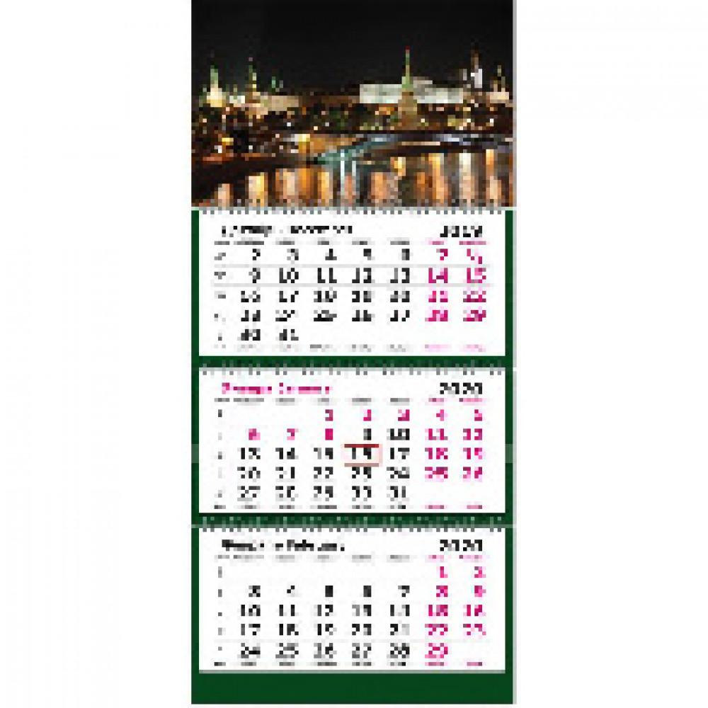 Календарь настен, 2020, 305х675, Ночная Москва, 3 спир,80г/м2, KB