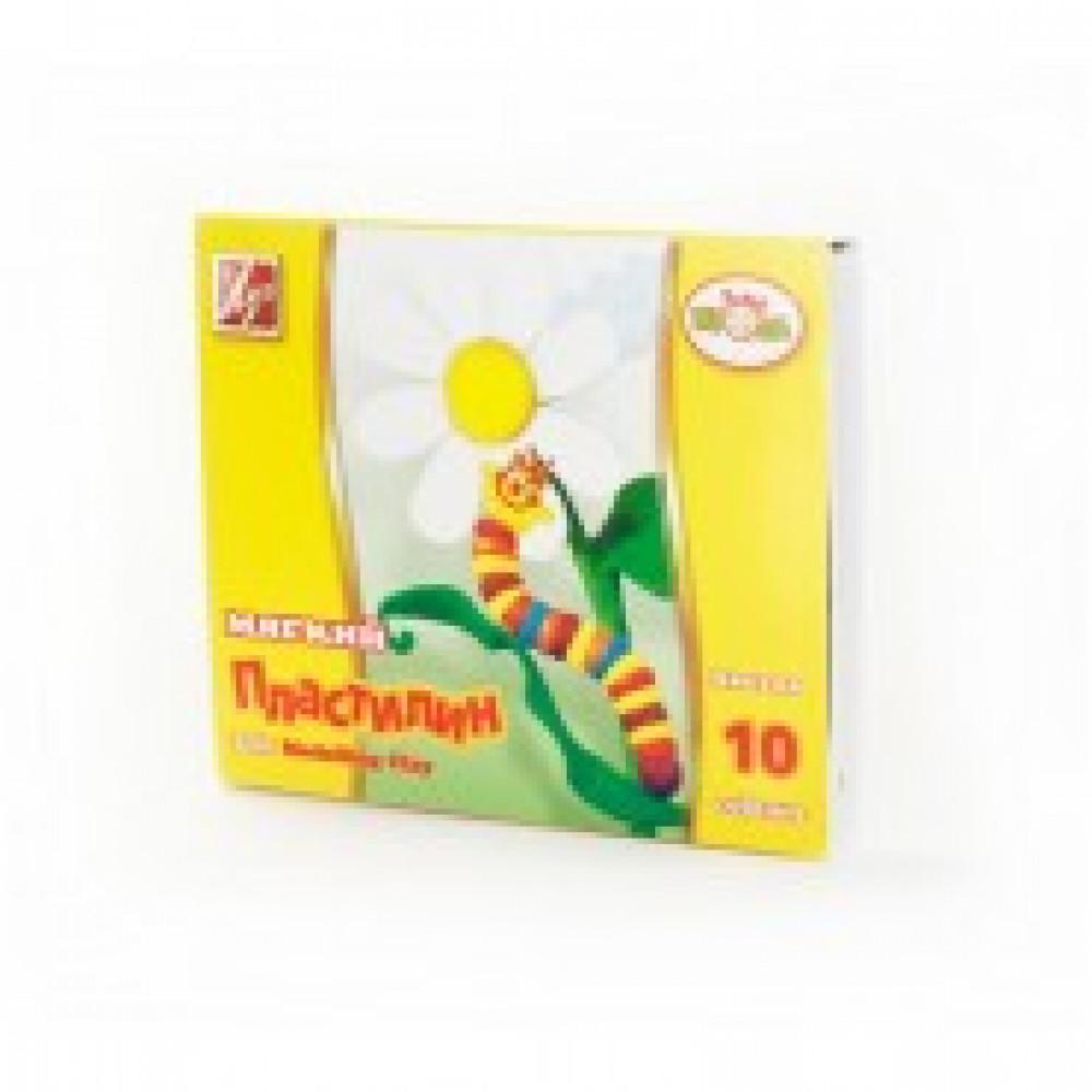 Пластилин восковой Луч Кроха 10 цветов 165 г со стеком