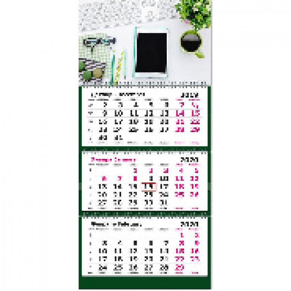 Календарь настен, 2020, 305х675,Офисный стиль, 3 спир,80г/м2, KB