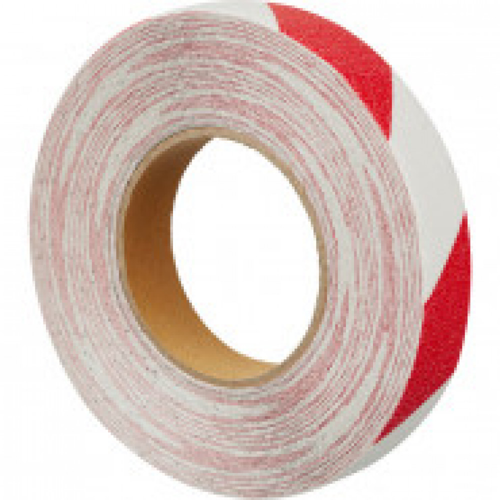Лента противоскользящая 25мм х 18,3м красно-белая (M1YR025183)