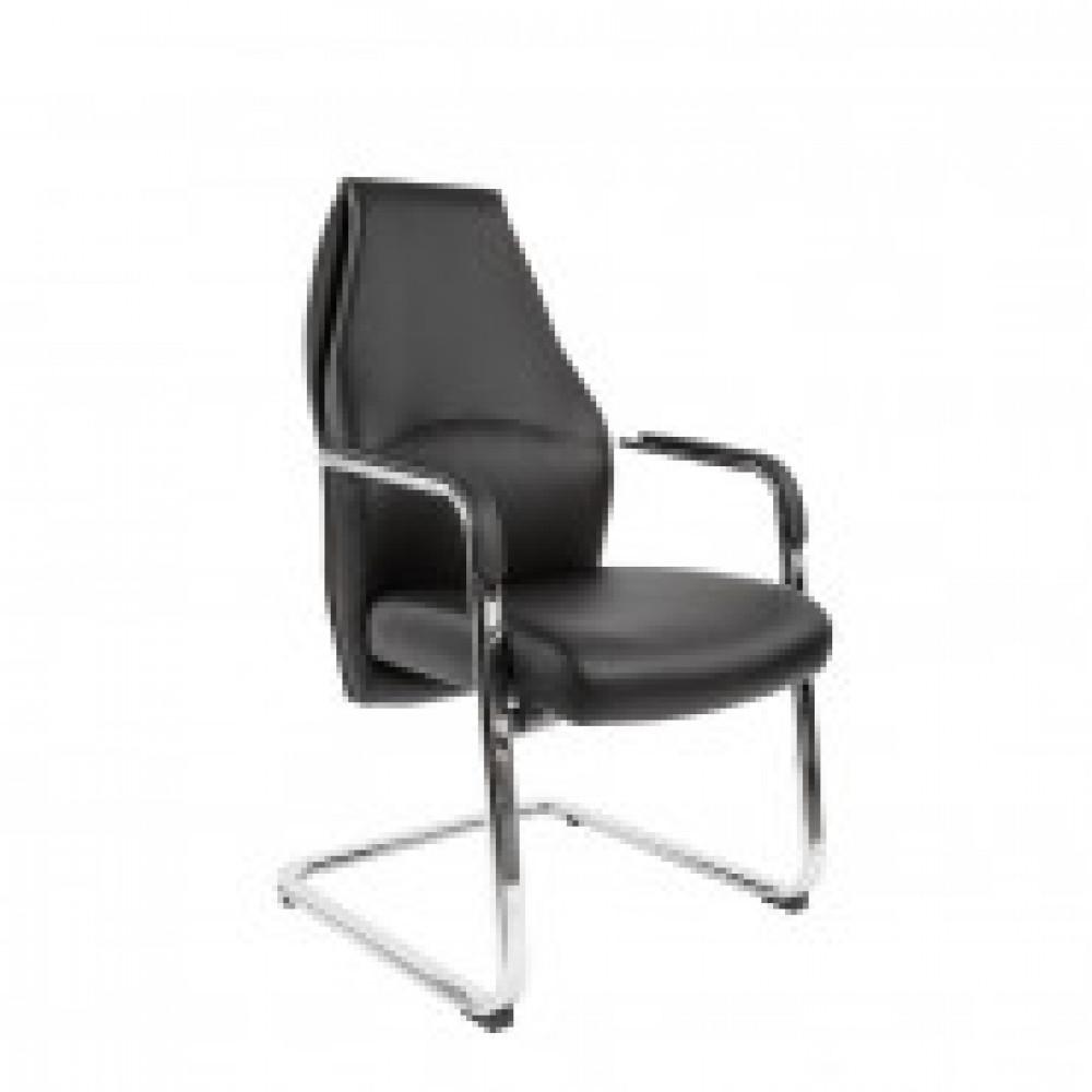 Кресло VT_EСhair- 554 VPU экокожа черная, хром (PU)