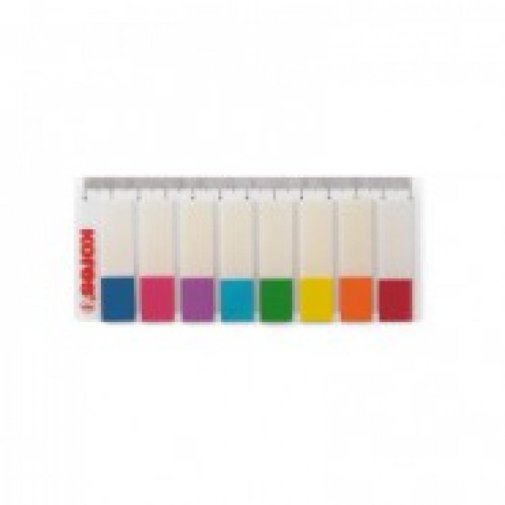 Клейкие закладки Kores пластиковые 8 цветов по 15 листов 12х45 мм на линейке
