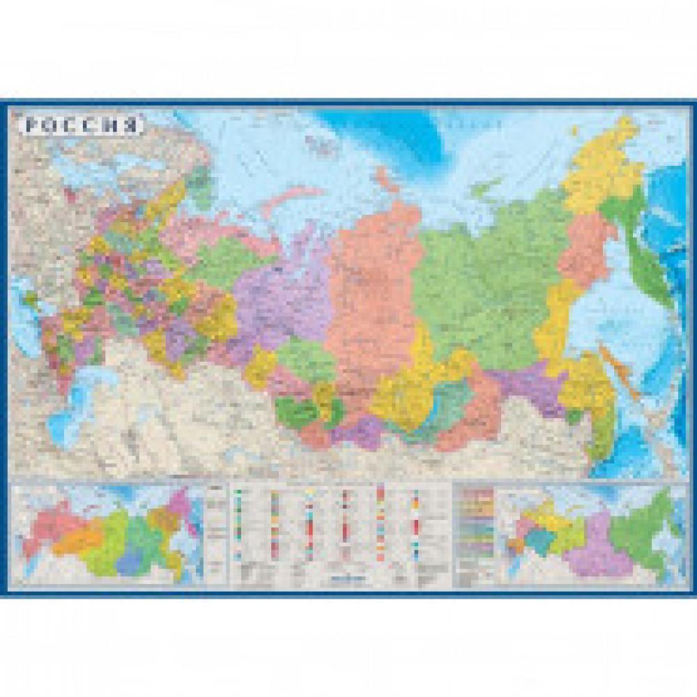 Настенная карта России политико-административная 1:6 млн